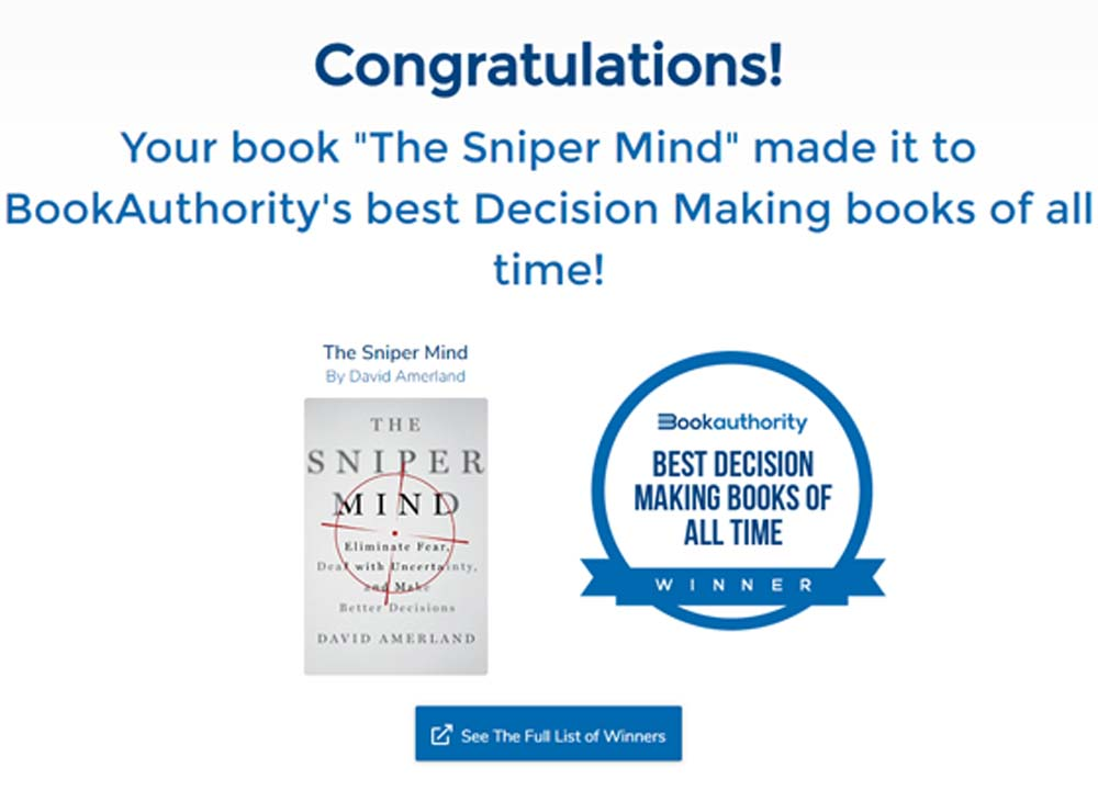 Book Authority Award for The Sniper Mind