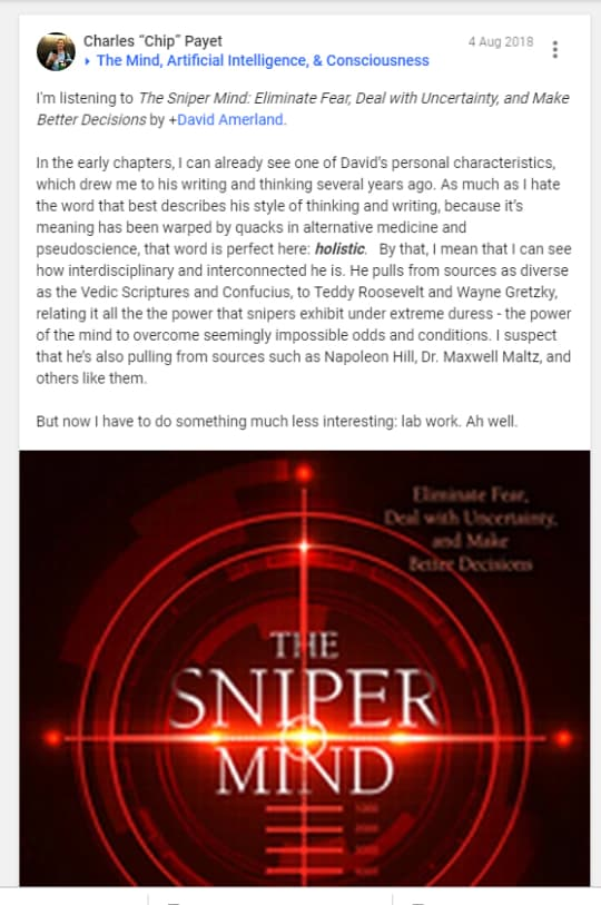 Charles Payet reviews The Sniper Mind book by David Amerland