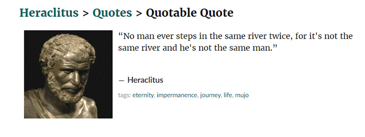 Heraclitus and his mention of fluidity and change