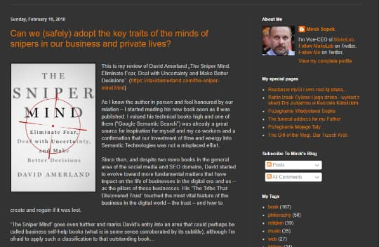 Mirek Sopen blog review of The Sniper Mind by David Amerland