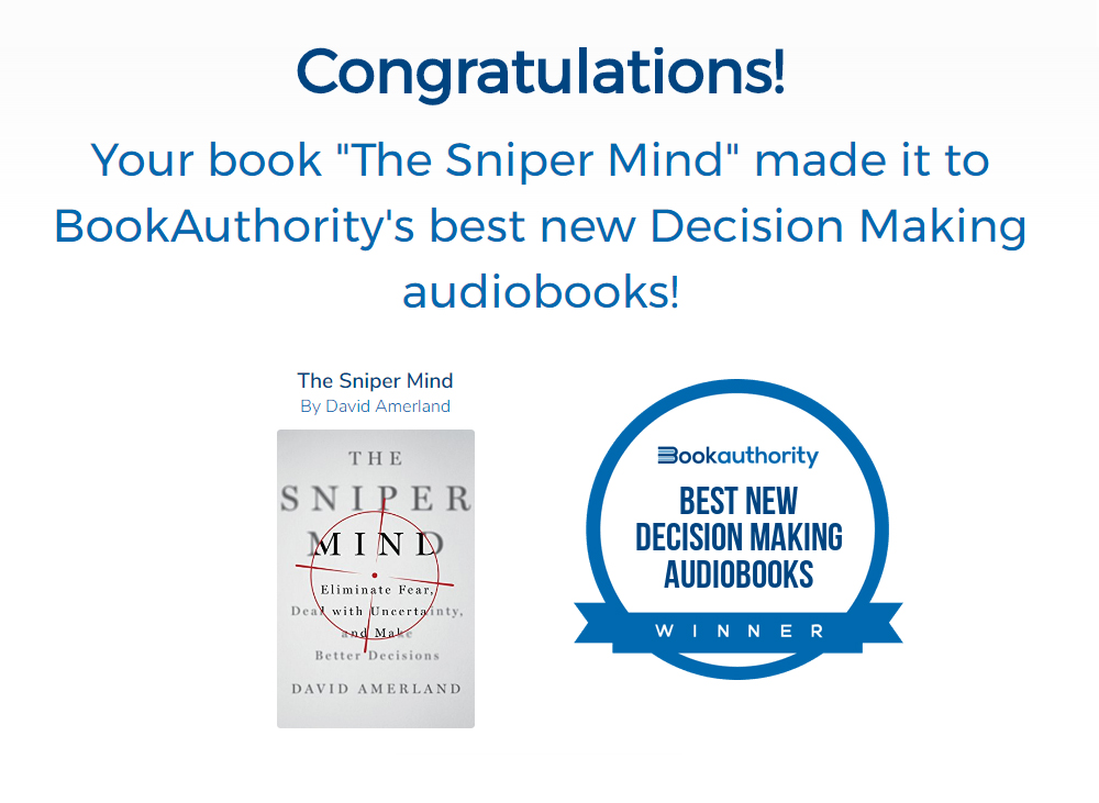Book Authority picks The Sniper Mind as best decision making audiobook for 2019